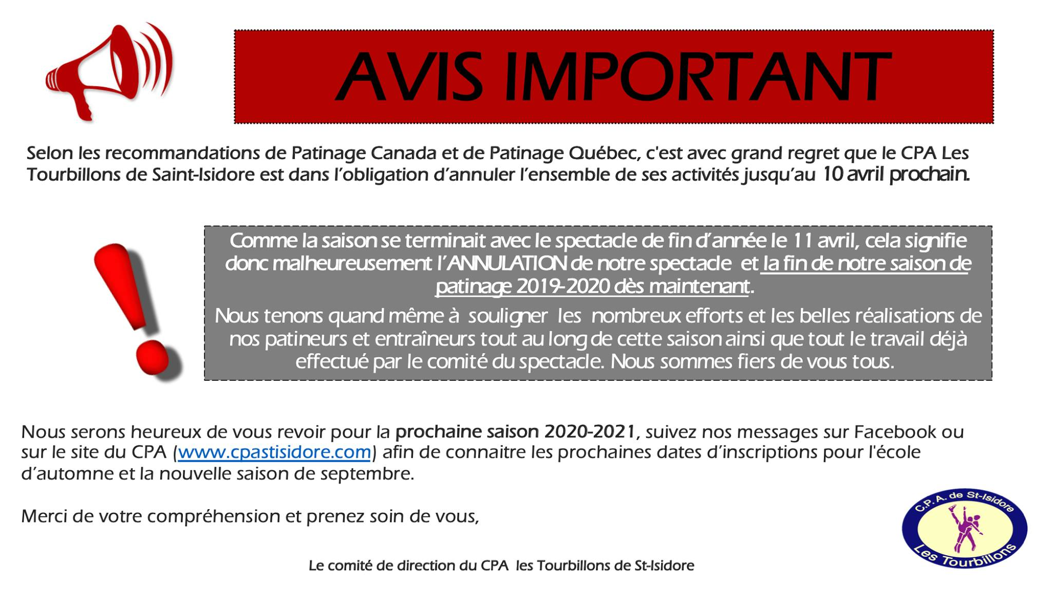 Annulation spectacle